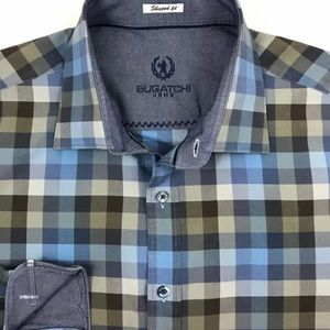 Bugatchi Uomo Mens Blue Gingham Check Button Front